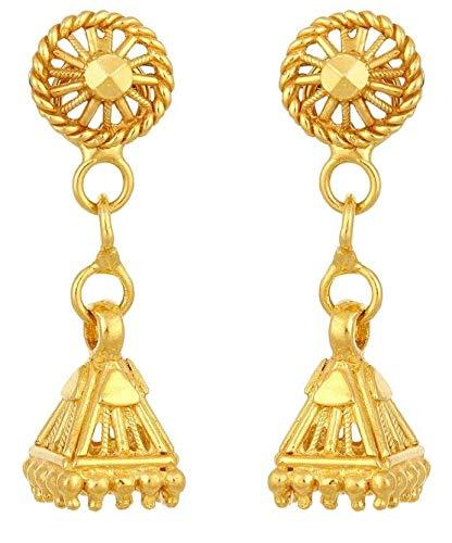 Satfale Jewellers Certified Indian Handmade Solid 22K 916 Stamped Fine Gold Long Design Earrings ()