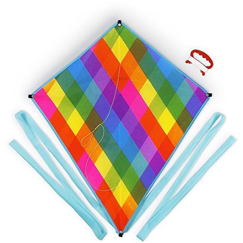 "Small Kite (Super Rad Rainbow Plaid 24"" x 28"" Beginner Level Outdoor Diamond Kite by K-Roo Sports)"
