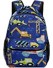 Children's Backpack Construction Equipment on Blue Kids Backpack for Girls and Boys Toddler Preschool Backpack Cute Schoolbag Bookbag Backpack Travel Bag for Teens Girls Boys