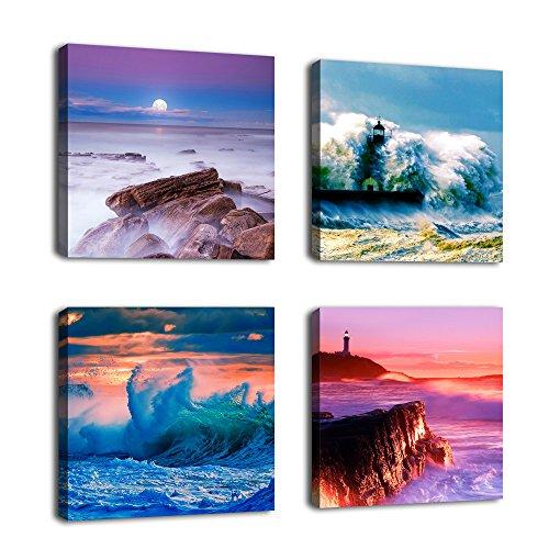 Canvas Art Sea Wave Sunset Beach Wall Art Decor Framed 12