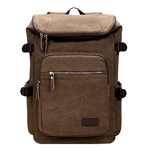 Eshow Men's Canvas Duffel Backpack Bag School Backpack Travel Hiking 16.8'' Laptop Outdoor Large Daypack Weekend Schoolbags,Brown