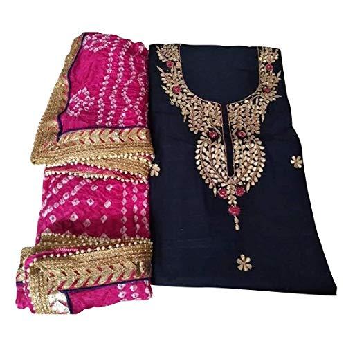 Women's and Girls Ethnic Wear Chanderi Designer Gotta Work Unstitched Suits with Art Silk Bandaj Dupatta