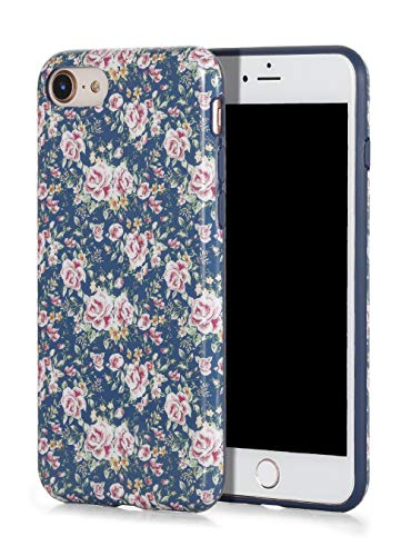 SunshineCases【Vintage Navy Blue Floral】 Flexible, Thin, Non-Slip Case Design【Compatible: Apple iPhone 8 & iPhone 7】