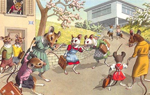 Mainzer Artwork Postcard Dressed Mice Mothers Taking Children to School~118953