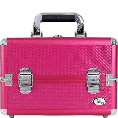 jacki-design-carrying-makeup-salon-train-case-with-removable-trays-hot-pink