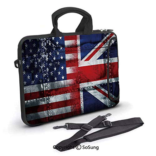 15 inch Laptop Case,Alliance Togetherness Theme Composition of UK and USA Flags Vintage Decorative Neoprene Laptop Shoulder Bag Sleeve Case with Handle and Carrying & External Side Pocket,for Netbook/