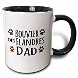 3dRose InspirationzStore Pet designs - Bouvier des Flandres Dog Dad - Doggie by breed - brown muddy paw prints love - doggy lover pet owner - 11oz Two-Tone Black Mug (mug_153871_4)
