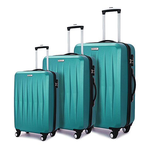 Fochier Hardside Luggage Lightweight 3 Piece Spinner Suitcase Set