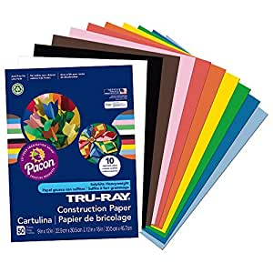 "Tru-Ray Heavyweight Construction Paper, Standard Assorted,  9"" x 12"", 50 Sheets"