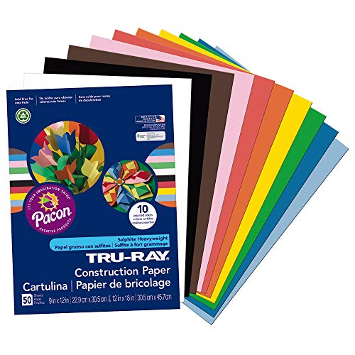 Tru-Ray Heavyweight Construction Paper, Standard Assorted,  9