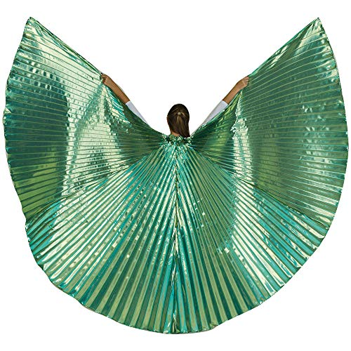 Danzcue 360 Degree Worship Isis Wings, Solid Blue-Gold, M-L-Adult