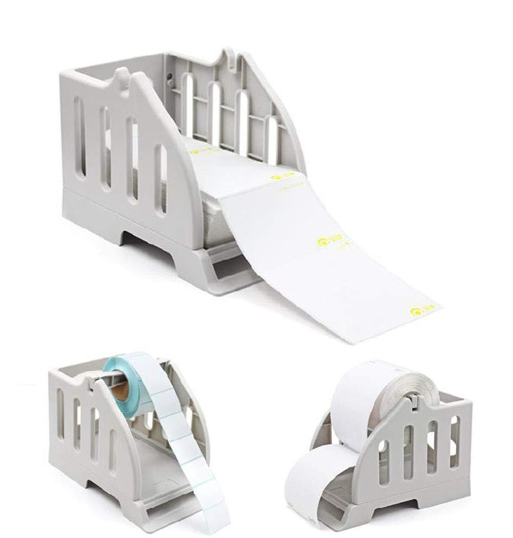 Label Holder for Rolls and Fan-Fold Labels Bracket Plastic Label Paper Holder of Thermal Bar Code Sticker Label Printer for Delivery, Supermarket, Pharmacy Store (2 in1 Holder C) by Acent