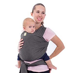 Baby Wrap Carrier by KeaBabies - All-in-1 Stretchy Baby Wraps - Baby Sling - Infant Carrier - Babys Wrap - Hands Free Babies Carrier Wraps   Great Baby Shower Gift (Mystic Gray)