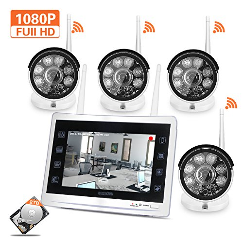 """YESKAM Wireless Outdoor Security Camera System with 12"""" 1080P Monitor Full HD 2.0MP WiFi Video Surveillance Cameras 4 Channel Kit 2TB Hard Drive For Home - Channel Vision Tv Outlet"""