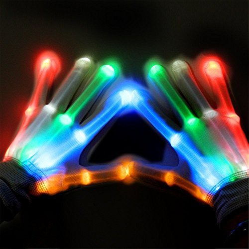 Leagway LED Skeleton Gloves, Colorful Flashing LED Finger Glow Rave Lighted Gloves - Party Disco Halloween Christmas Gift Toys (White)