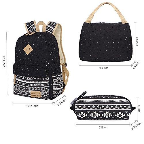 1b2a5ba771d BLUBOON Teens Backpack Set Canvas Girls School Bags, Bookbags 3 in 1 (Polka  Dot
