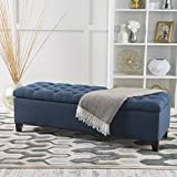 Christopher Knight Home 299824 Living Vassar Dark Blue Fabric Storage Ottoman, 17.75D x 51.50W x 15.75H