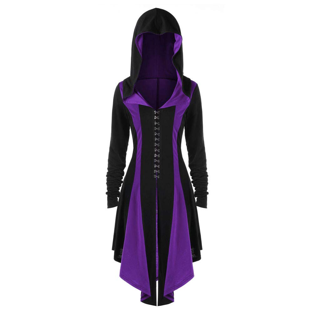Womens Renaissance Costumes Hooded Robe ce Uper High Low LongDress Halloween Cloak LIM&Shop by LIM&SHOP-Women Tops
