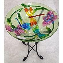 "18"" Dragon Fly Glass Bowl/birdbath and Stand Combo"