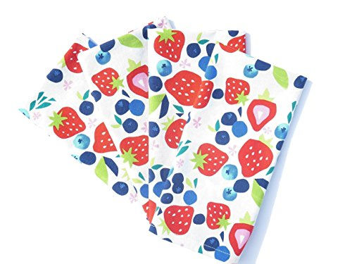 Strawberries and Blueberries Cloth Napkins
