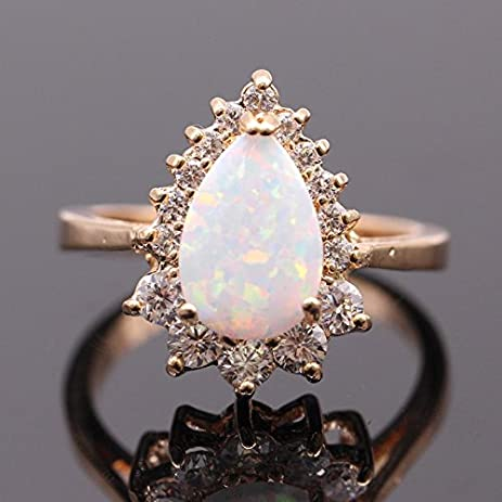 Amazoncom New Design Water Drop White Opal Ring Zircon Jewelry