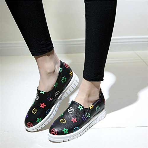 CHFSO Heel Top Loafers Mid On Womens Black Slip Low Platform Round Stylish Toe 6ATwr6q