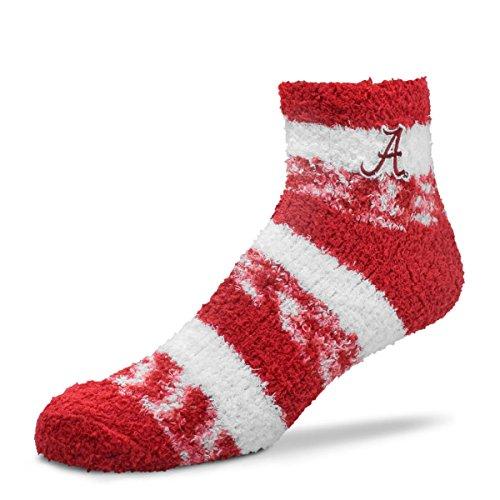 For Bare Feet NCAA RMC Pro Stripe Fuzzy Sleep Soft Sock -Alabama Crimson Tide-Size-Medium