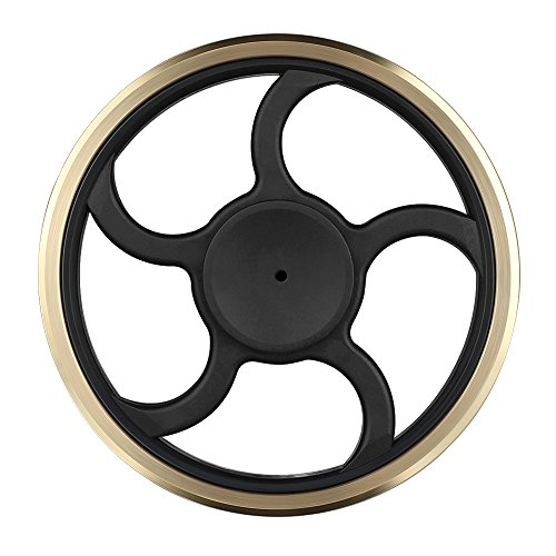 Mothca Fidget Hand Spinner Toy Circular Stress Reducer Gold Metal Brass Finger Toy Mute Balance Spin 3-5 minutes Gadget Perfect Size For Kids Ladies ADHD Anxiety Autism Adult Gift (Round)
