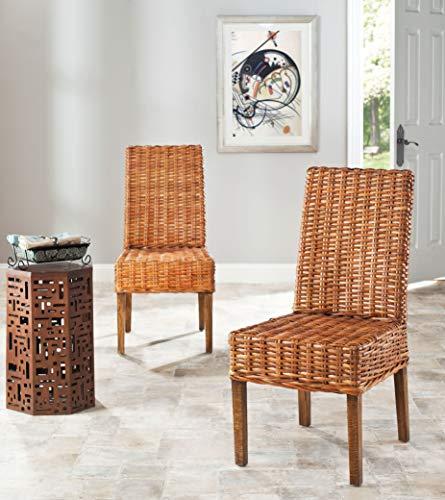 Safavieh Home Collection Aubrey Honey Oak Wicker Side Chair, Set of 2