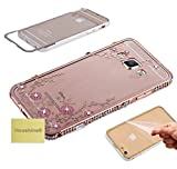 J7 2016(J710) Secret Garden Case, Houshine Bling Crystal Electroplated Flower Back Cover Metal Bumper Case for Samsung Galaxy J7 2016(J710), Rose Gold without Pearl Tassel