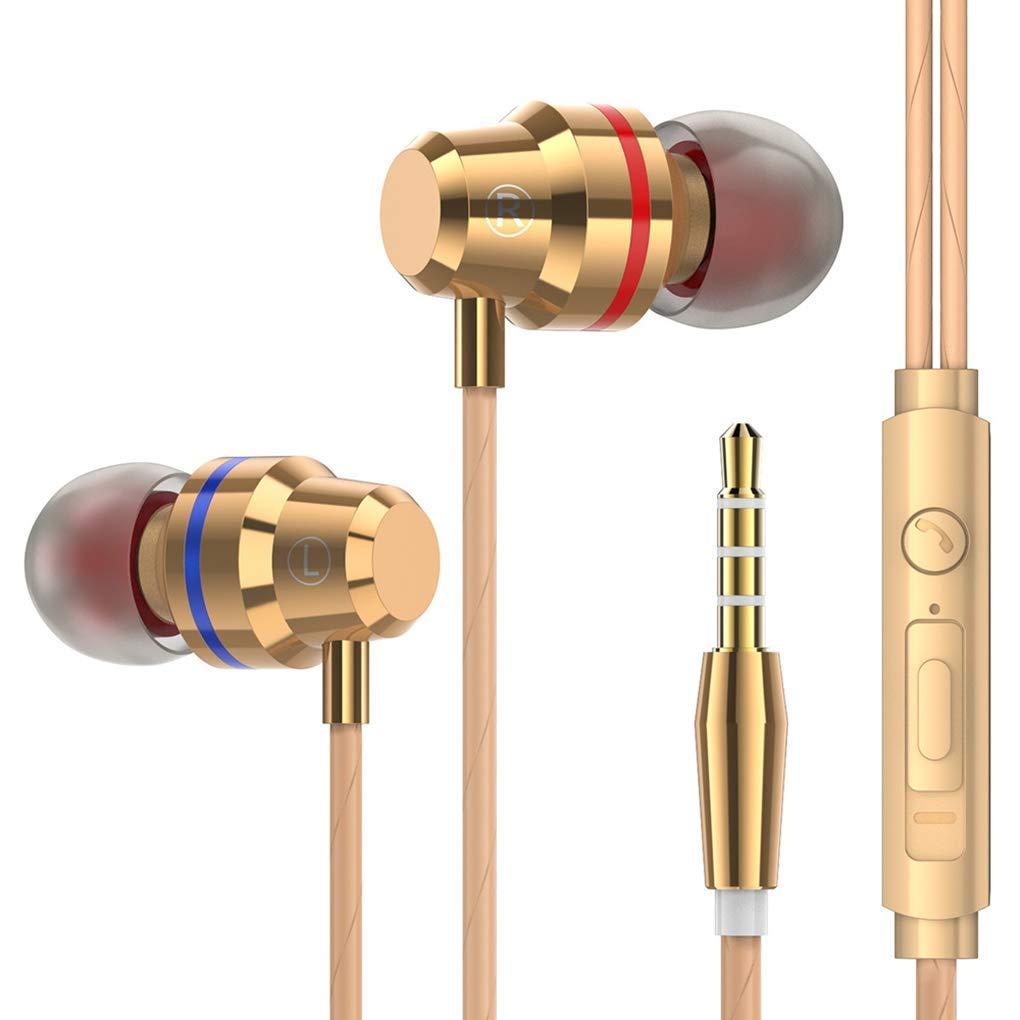 Premium Qualit/ät In-Ear 3,5 mm Klinke Kopfh/örer Metall Schwere B/ässe Klangqualit/ät Musik Headset Rauschunterdr/ückung Sport Ohrh/örer Eingebautes MikrofonCarry Stone