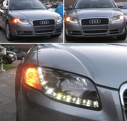 Amazoncom Xtune For Audi A S B DRL LED Projector - 2006 audi a4 headlights