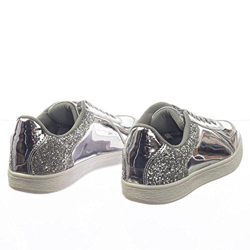 Lien Pour Toujours Lien Paillettes Métalliques Holographique Irresdescent Lacets Sneaker W Semelle En Caoutchouc Argent