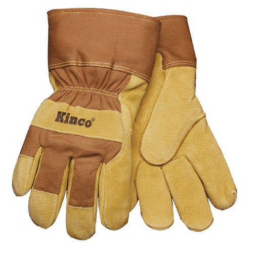 Kinco International Lg Lined Pig Palm Glove 1958 L Lined Leather Gloves (Gloves Pigskin Waterproof Palm)