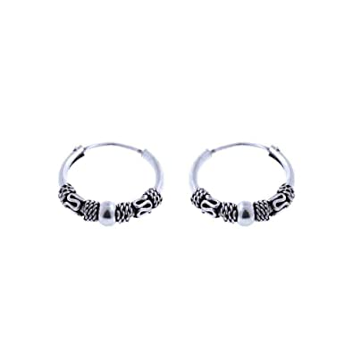 08ada5c82 Image Unavailable. Image not available for. Color: Bali Tribal Ball Wrap Sterling  Silver Small Endless Hoop Earrings ...