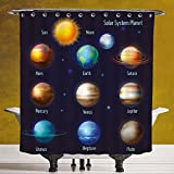 Fun Shower Curtain 3.0 by SCOCICI [ Educational,Solar System Planets and the Sun Pictograms Set Astronomical Colorful Design,Multicolor ] Polyester Fabric Bath Decorative Curtain Ideas