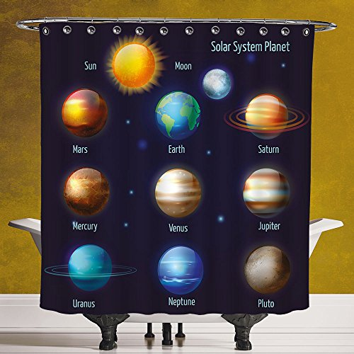 Fun Shower Curtain 3.0 by SCOCICI [ Educational,Solar System Planets and the Sun Pictograms Set Astronomical Colorful Design,Multicolor ] Polyester Fabric Bath Decorative Curtain Ideas by SCOCICI