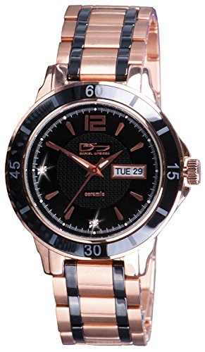 Daniel Steiger Mayfair Watch - Rose Gold Plated Stainless Steel - Black Ceramic Bezel And Link Pieces - Precision Quartz Movement With Day & Date Features - Water - Mayfair Shipping Free