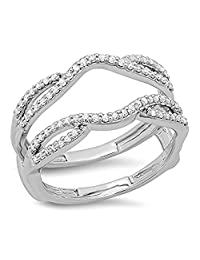 925 Sterling Silver Plated CZ Diamond Ladies Wedding Band Enhancer Guard Double Ring 1/3 CT