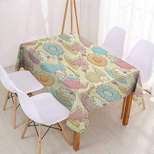 ScottDecor Fabric Tablecloth Rectangular Polyester Tablecloth W 60