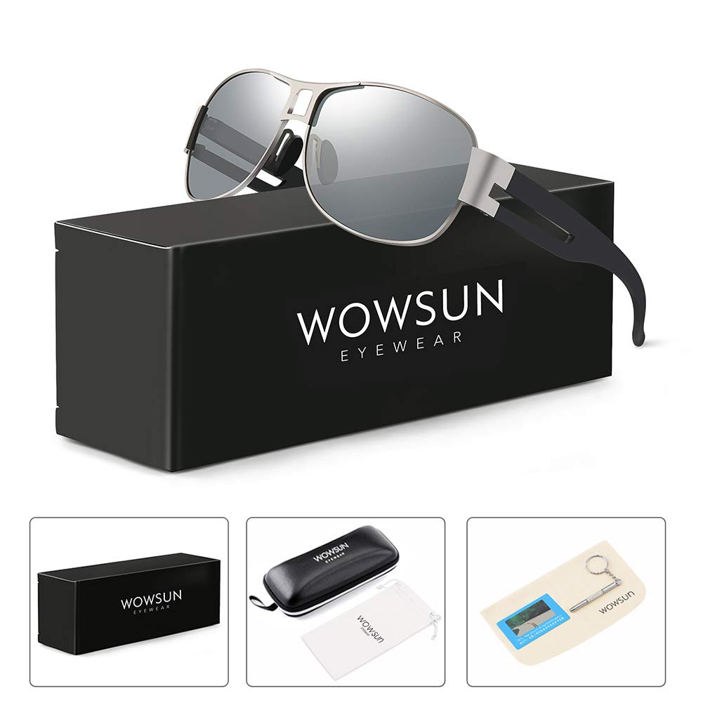 WOWSUN Classic Aviator Military Polarized Driving Sunglasses For Men | Ultralight Frame with 100% UV400 Protection Lens (Black Lens Gun Grey Frame)