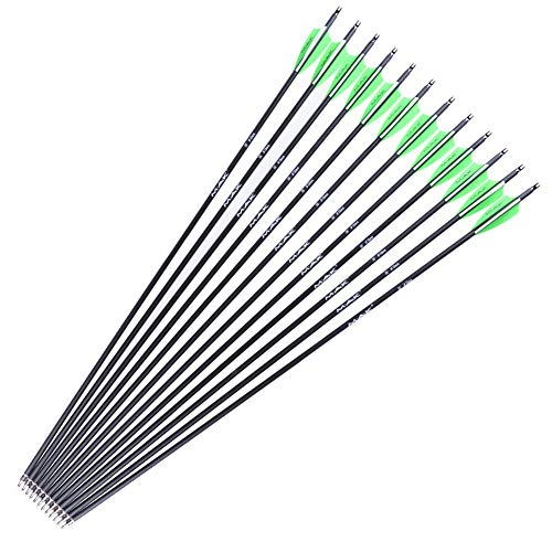 M.A.K [Targeting Arrows 30-Inch 0.309 inch Outer Diameter Carbon Outdoor Archery Practice Hunting Arrows with Removable Tips for Compound & Recuve Bow(Pack of 12)