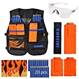 Kid Tactical Vest Kit for Nerf Guns N-Strike Elite Series-Black Vest, 6/12-Darts Quick Release Clips, Wristband, Protective Goggles, Headwrap Mask and 20Pcs Bullet Darts