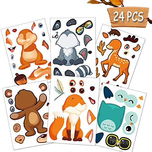 Happy Storm Woodland Party Supplies 24 Make A Woodland Creatures Sticker Sheets Woodland Animal Nursery Stickers for Baby Shower Fox Birthday Decorations Make Your Own Animal Stickers