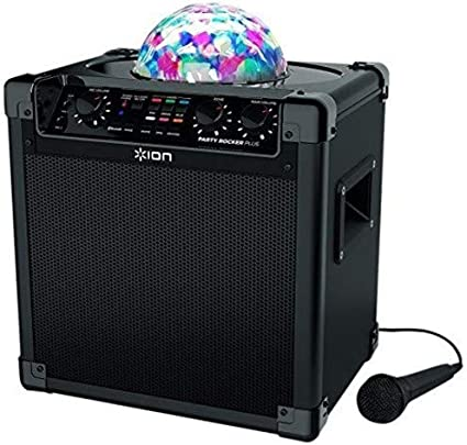 ION Audio Party Rocker Plus  Portable Bluetooth Party Speaker System &  Karaoke Machine with Built-In Rechargeable Battery, App-Controlled Party  Light