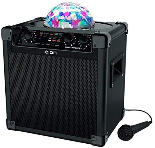 ION Audio Party Rocker Plus | Bluetooth Speaker with Rechargeable Battery, Spinning Party Lights & Karaoke Effects (50W) -