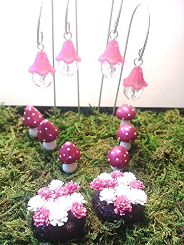 Fairy garden set of fairy lights, mushrooms, and flowers. Set of 12. Pink. Fairy garden accessories, terrarium décor.