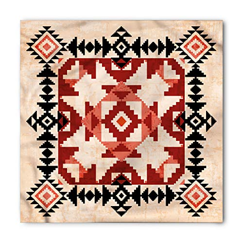 Lunarable Unisex Bandana, Geometric Ornament Native American, Black Peach ()