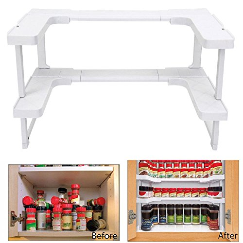 OKOKMALL US--Spice Shelf Spicy Rack Kitchen Bathroom Stackable Storage Organizer Pantry Hot by OKOKMALL US