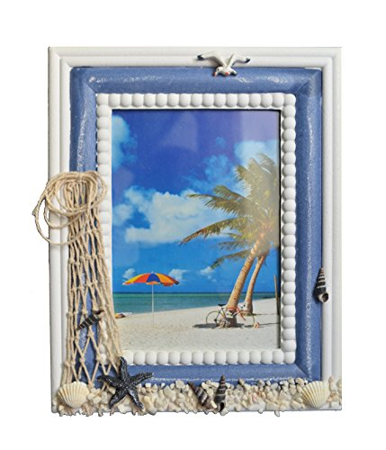 GIFTME 5 Wooden Beach Photo Frame with Seashell and Starfish-5x7 inch